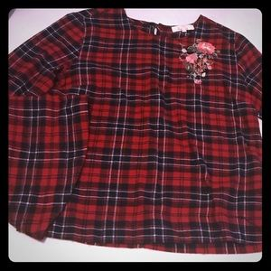Flannel Bell Sleeved Blouse Top (M)